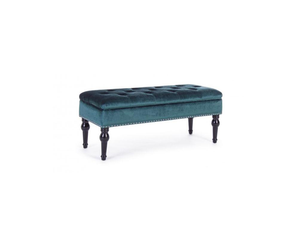 Panca Contenitore Tessuto : Panca contenitore bernard blu pavone