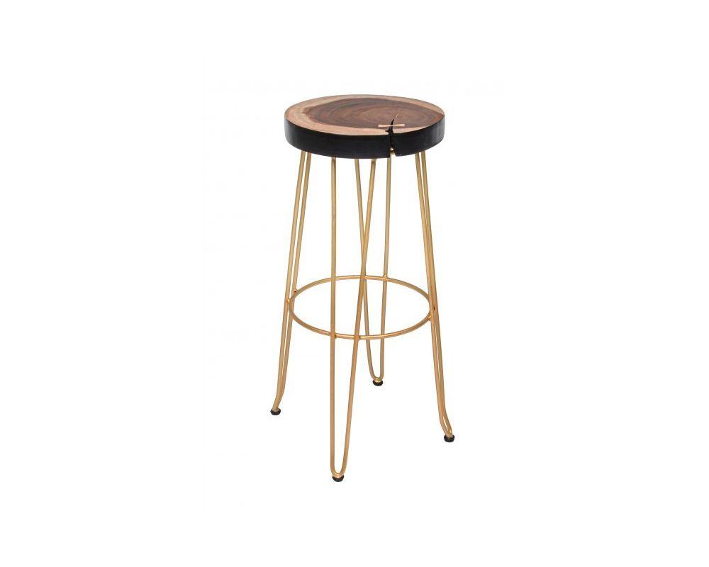 Seduta in legno mungur tronco gambe in metallo