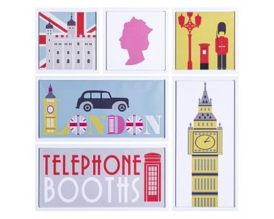 SET6 STAMPA SU TELA C-C LONDON 90X90