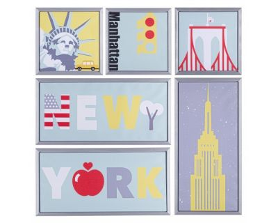 SET6 STAMPA SU TELA C-C NEW YORK 90X90