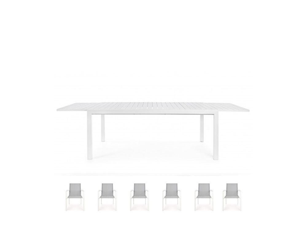 Tavolo Allungabile 6 Sedie.Set Tavolo Allungabile 6 Sedie C Br Bianco Atlantic Alluminio