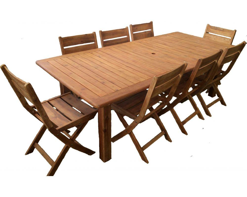 Tavoli Allungabili E Pieghevoli.Tavolo Da Giardino Rettangolare Allungabile In Acacia Con 6 Sedie