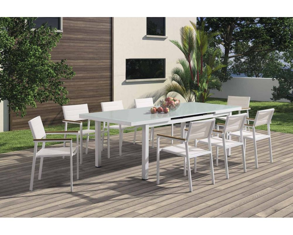 Tavolo Alluminio Cleveland Allungabile Bianco Opaco Quadro