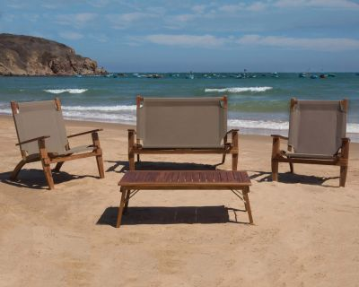 Salotto Primavera 4pz. pieghevole sabbia acacia