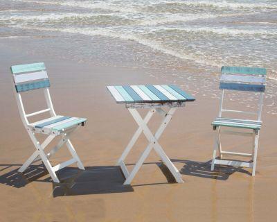 Set tavolo + 2 sedie decapato multicolore color acacia