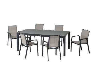Set pranzo newport allungabile + 6 sedie c/br alluminio antracite
